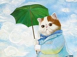 撑阳伞的喵