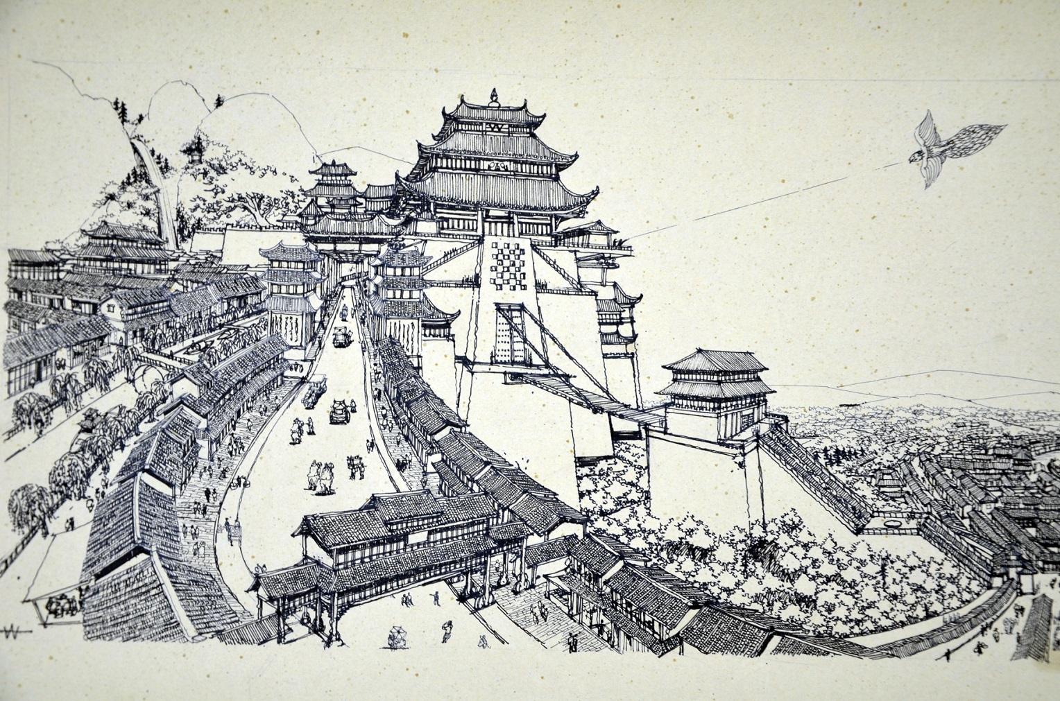 李万海原创手绘古风场景|插画|游戏原画|李万海w手绘