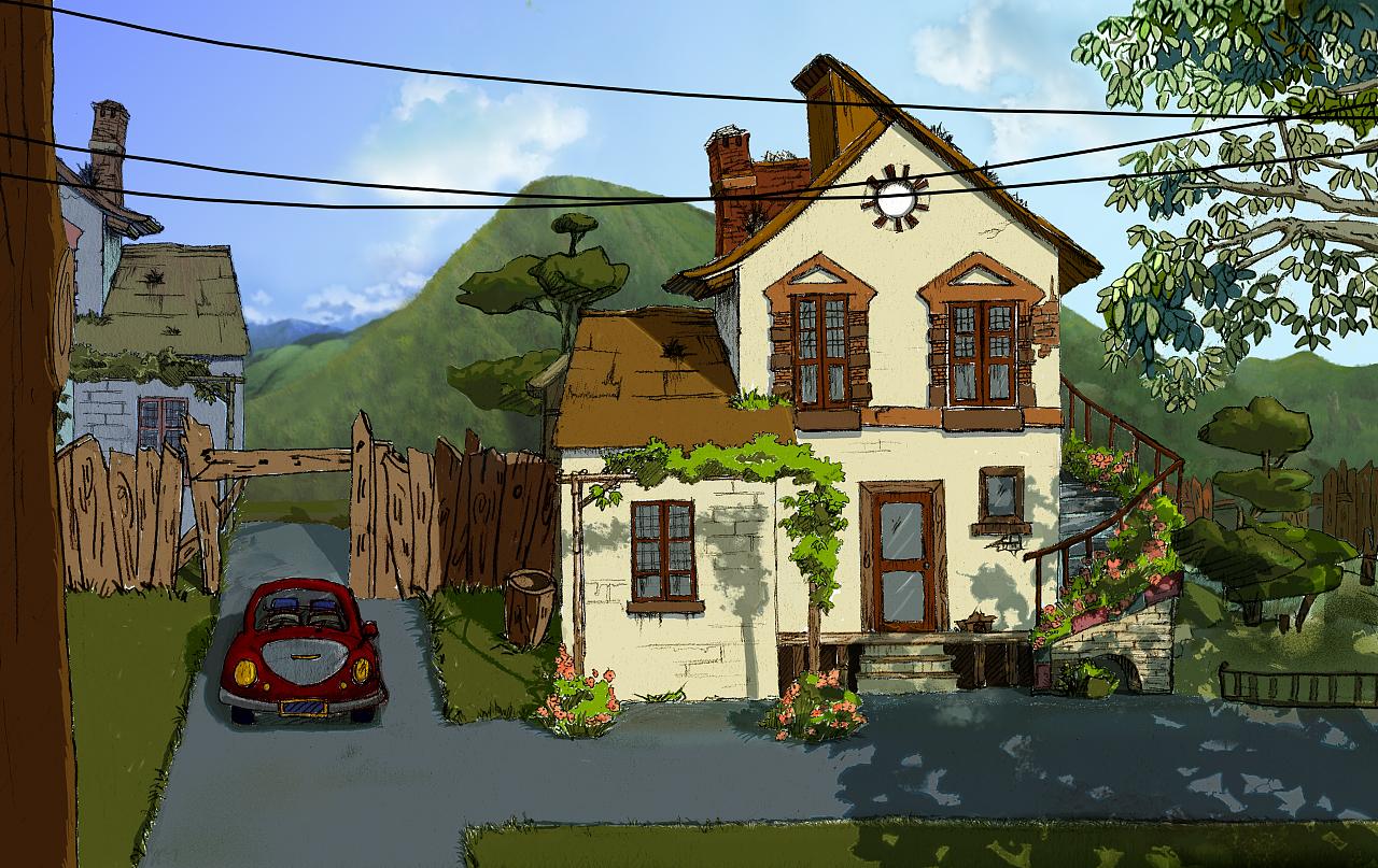 别墅的手绘动画图片