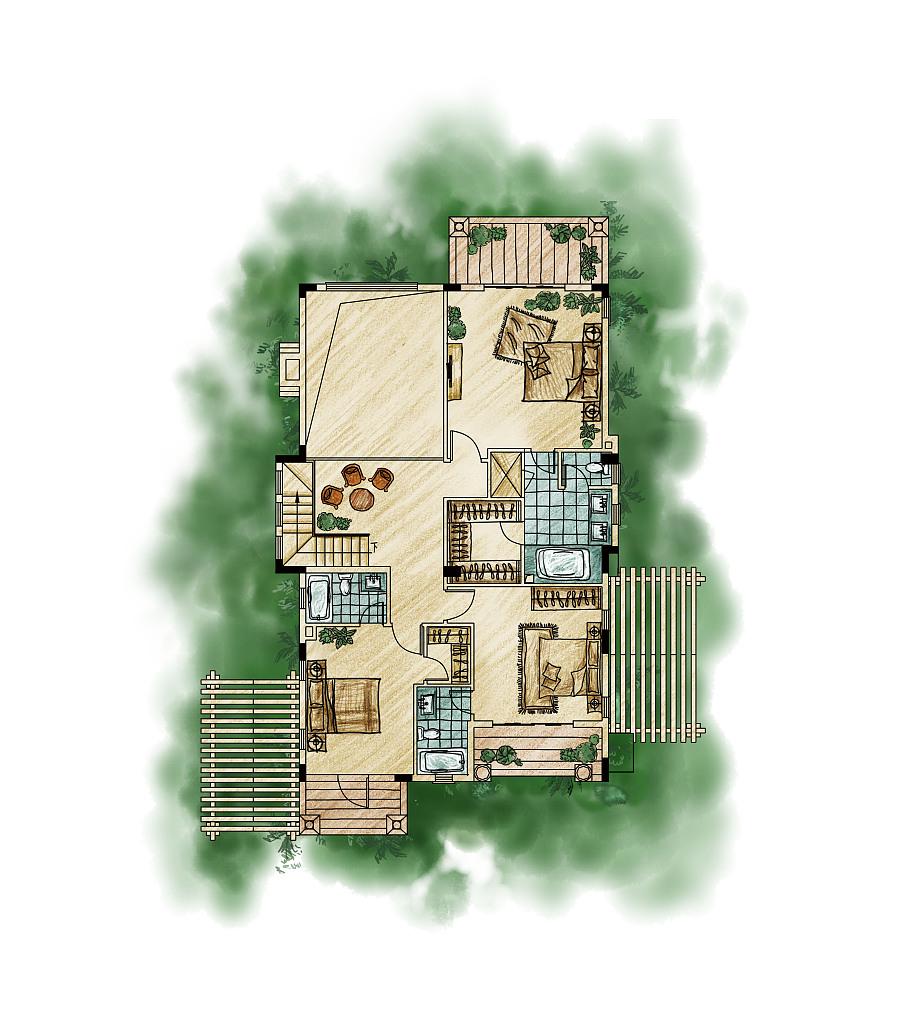南山高尔夫别墅手绘效果图|建筑设计|空间/建筑|王