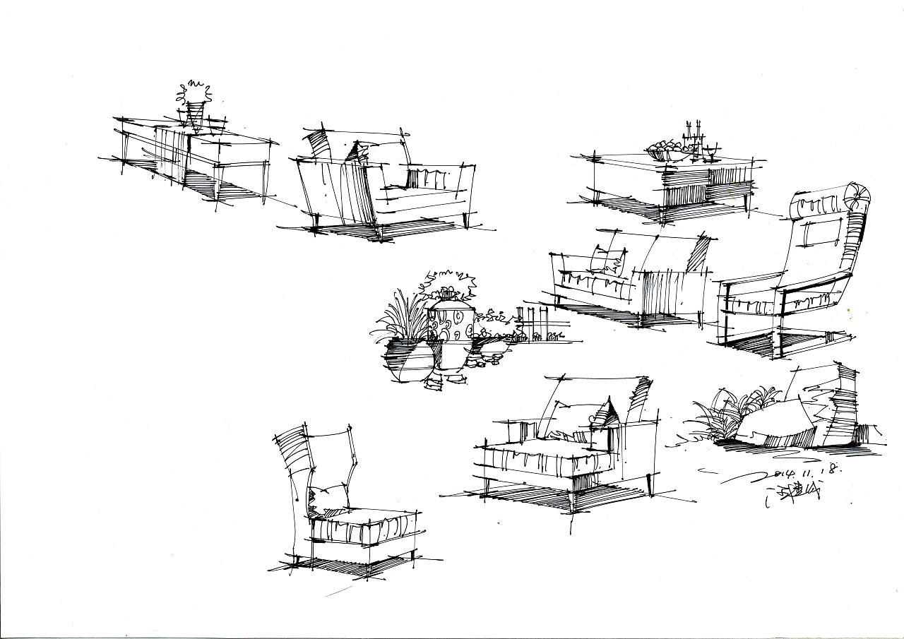 室内线稿|空间|室内设计|汪建成 - 原创作品 - 站酷