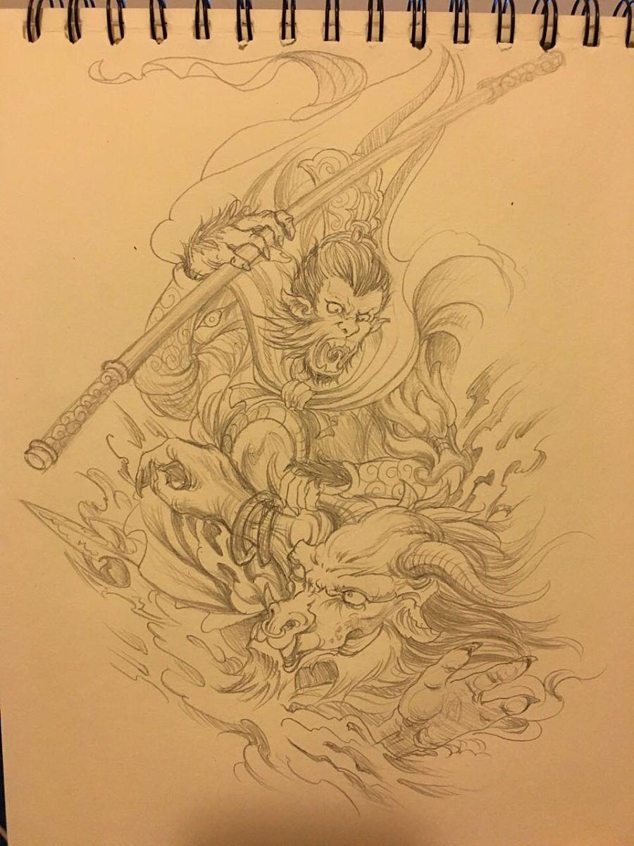 纹身设计手稿-大圣战牛魔王