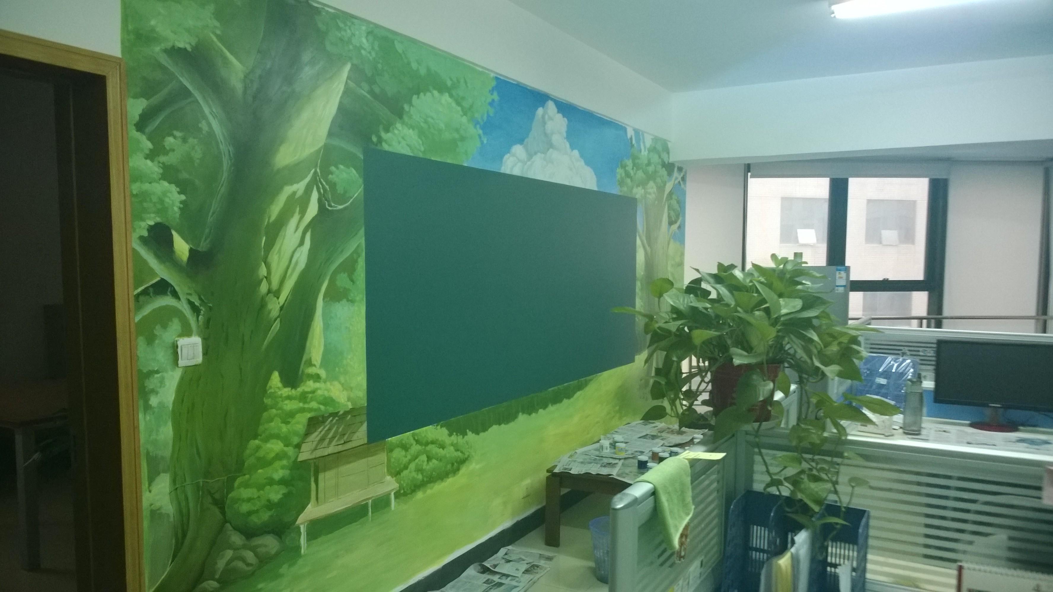 羊乐乐电商办公室手绘墙