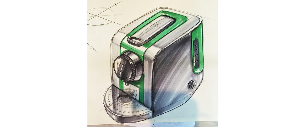 产品设计手绘手稿-马克笔表达|工业/产品|电子产品|黄