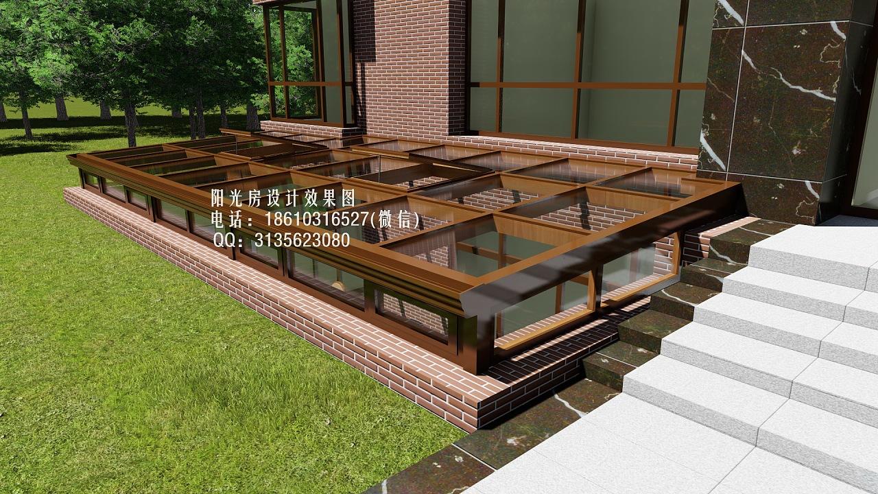 下沉式庭院阳光房设计效果图|空间|建筑设计|花园阳光