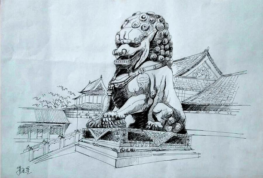 原创作品:手绘石狮子图片