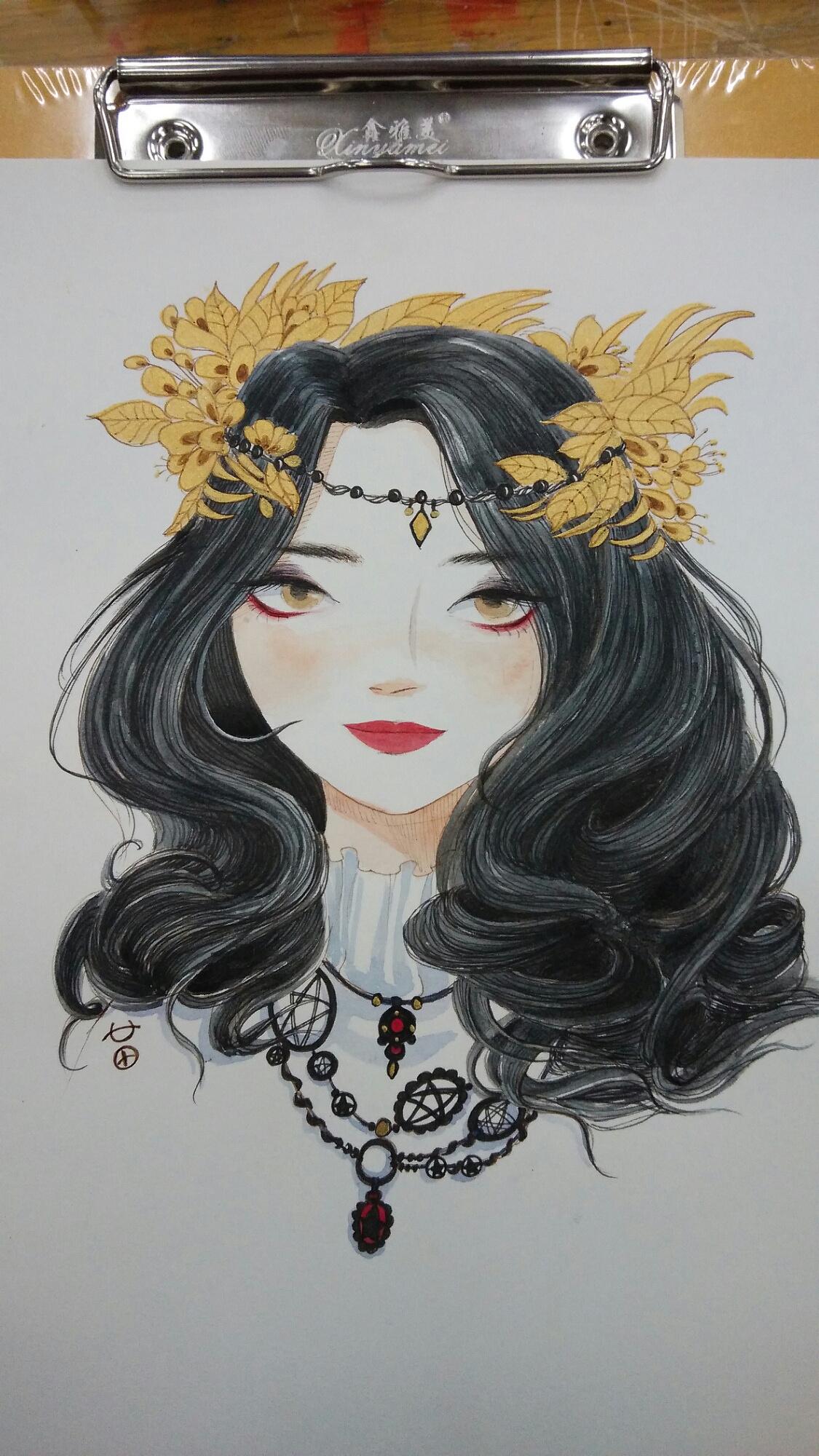 外国女土匪,水彩手绘