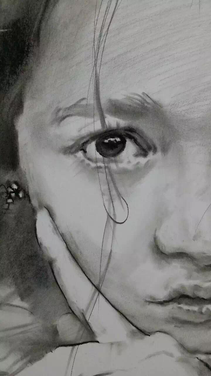 3d素描眼睛-悲伤表情素描 悲伤表情素描分享展示图片