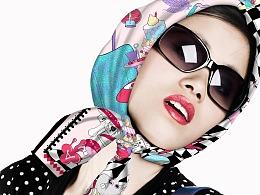 原创丝巾设计/包装设计——爱丽丝梦游仙境