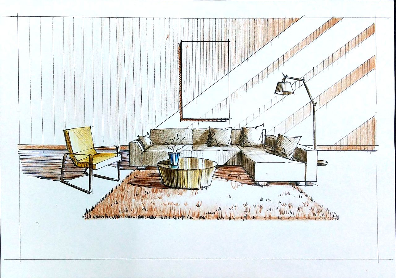 手绘室内客厅空间, 从线稿到色彩, 空间