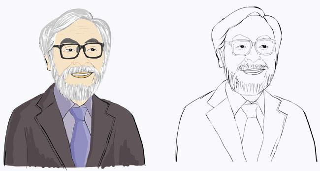 写实风格的手绘真人动漫卡通头像宫崎骏设计