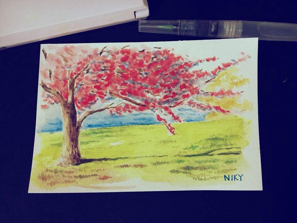三张水彩风景明信片