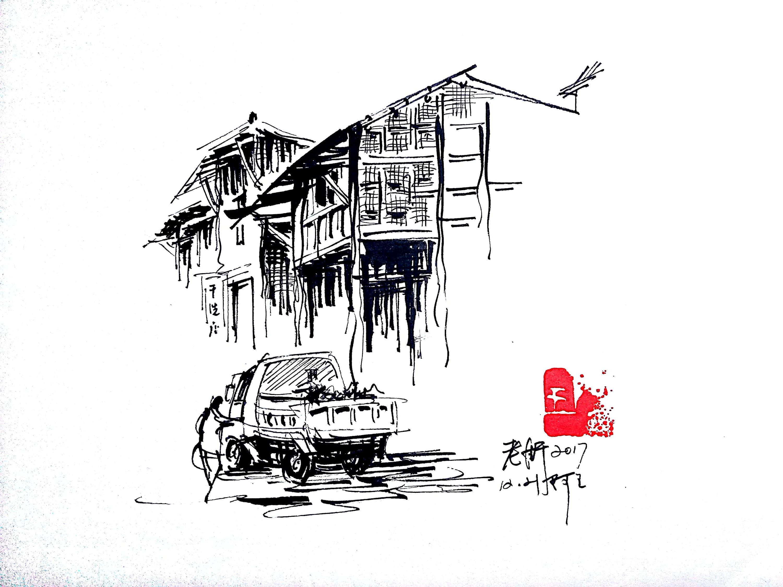 速写建筑阿王速写风景钢笔画速写