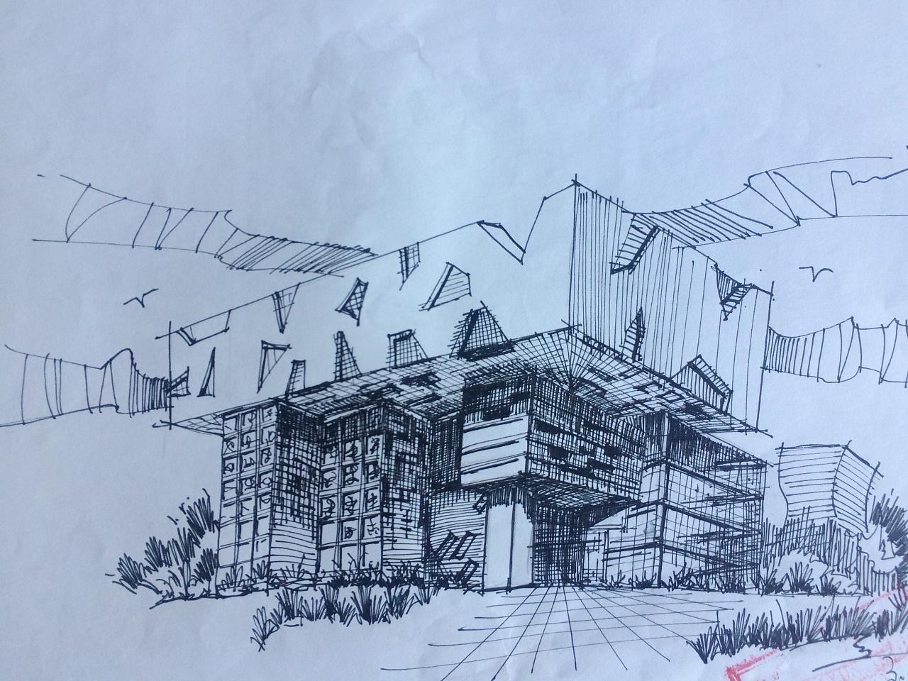 建筑设计 手绘 钢笔 马克笔