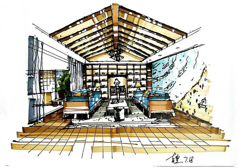 室内手绘线稿加上色|空间|室内设计|z大大丶 - 临摹