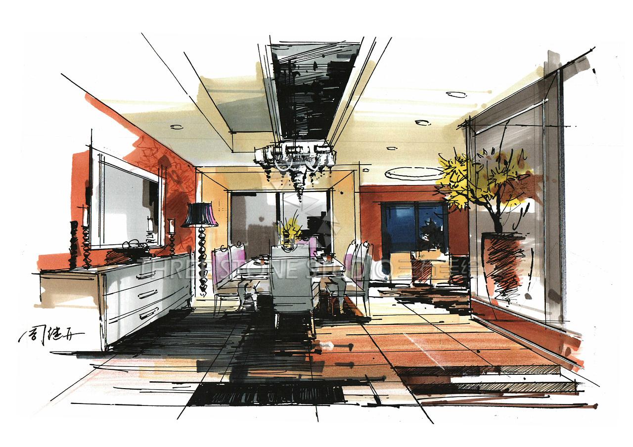 建筑手绘,建筑画,手绘图片,手绘效果图,马克笔上色,建筑设计,室内设计