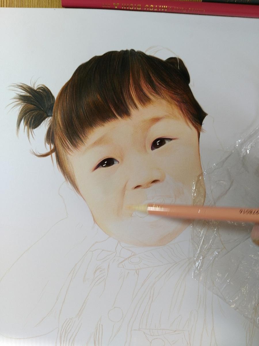 可爱的小女孩儿 彩铅 纯艺术 榕森手绘 - 原创设计