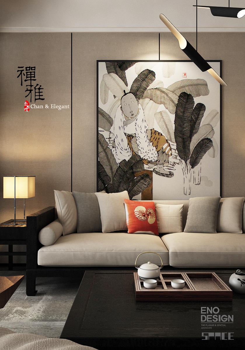 新中式客厅设计|室内设计|空间/建筑|蓝雨鱼