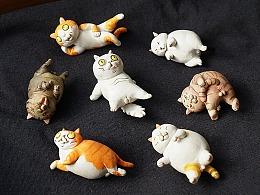 陶捏一组沙雕小猫咪