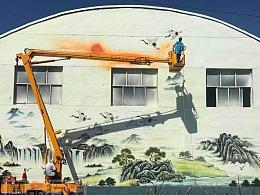 大型国画墙面彩绘|平遥彩绘|中式墙面彩绘|文化墙彩绘