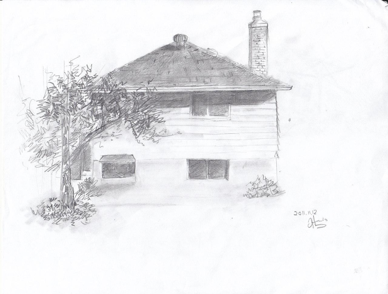 黑白手绘画房子