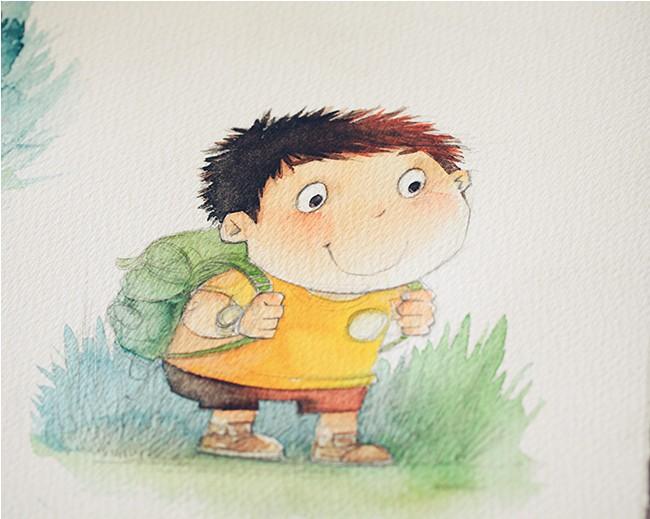 背书包的小孩|儿童插画|插画|明天教室