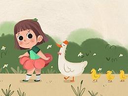 小女孩系列插画