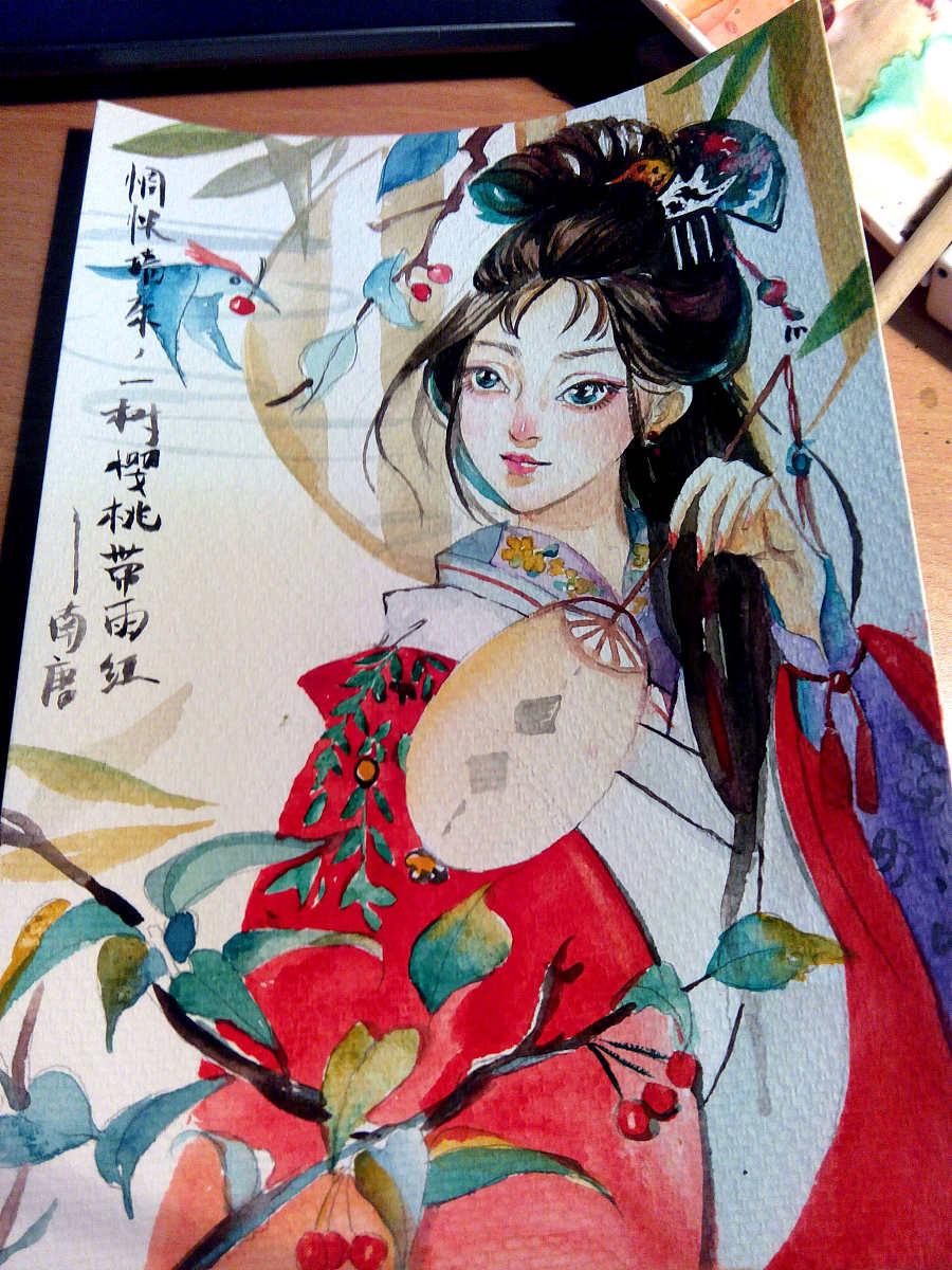 水彩古风美女|商业插画|插画|毛瑞瑶