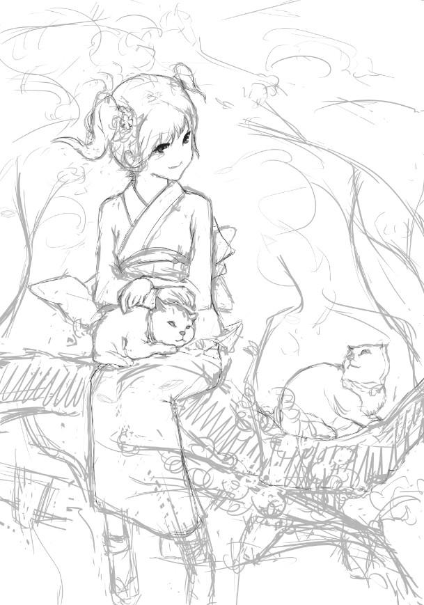 在坐在樱花树上和猫