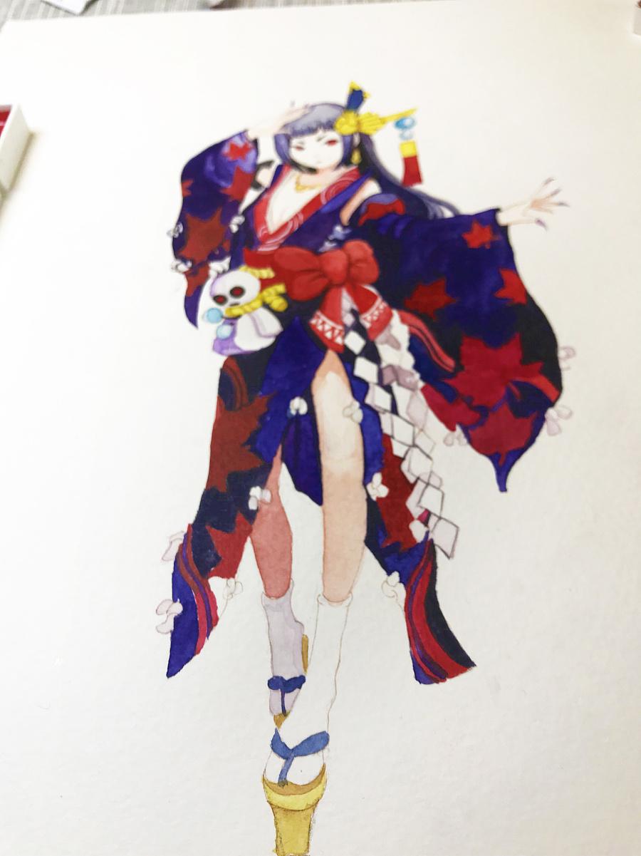 水彩手绘--阴阳师 鬼女红叶|水彩|纯艺术|蒲之未落