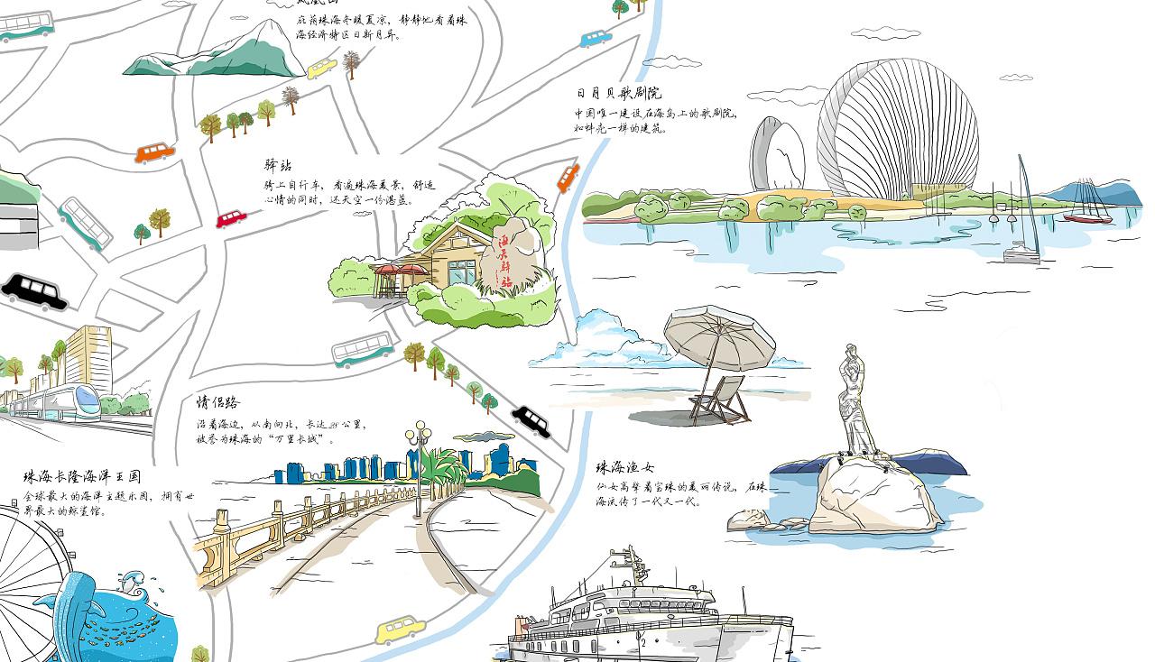 珠海海滨生活手绘地图