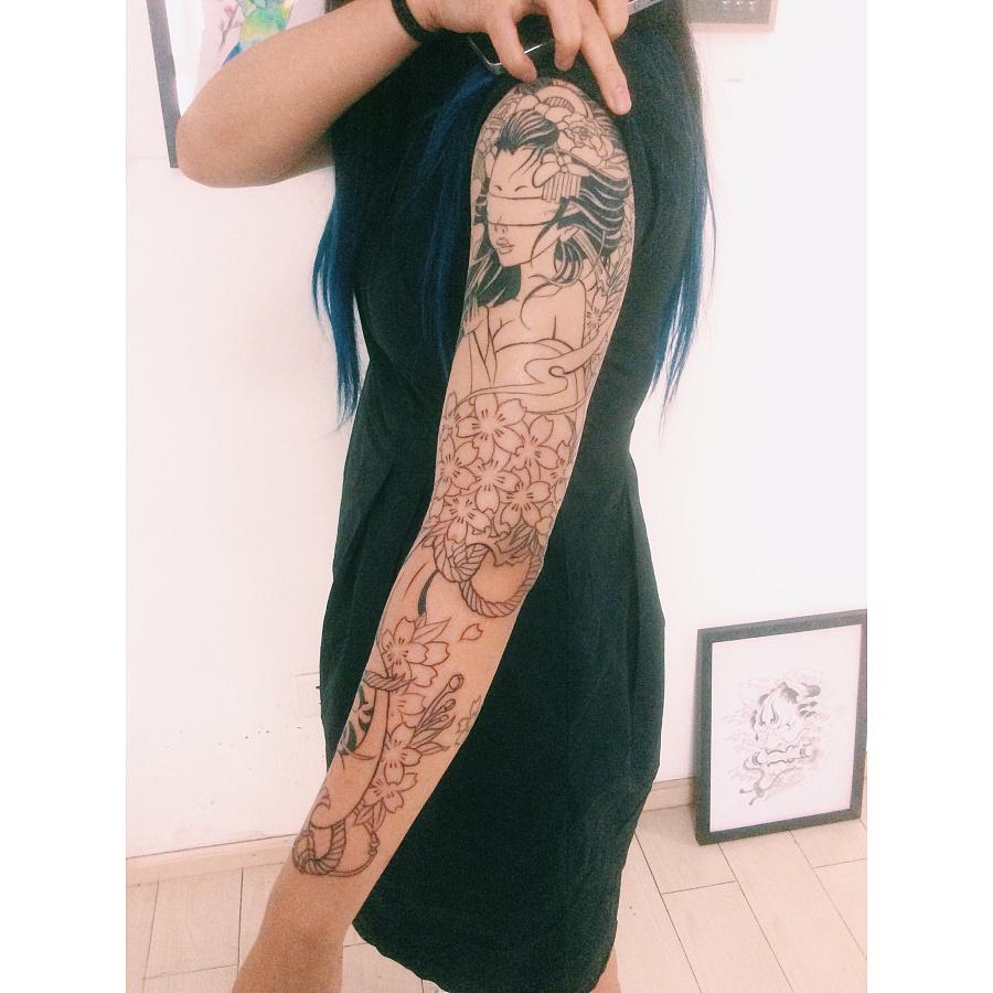 老徐的纹身作品-有艺妓的日式花臂|涂鸦/潮流|插画|to