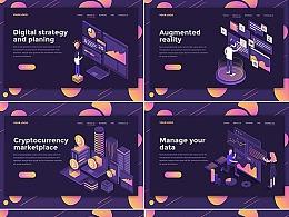 2.5D插画金融数据科技信息网页购物场景图标区块链素材