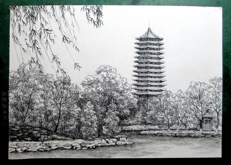 北京大学,钢笔画明信片