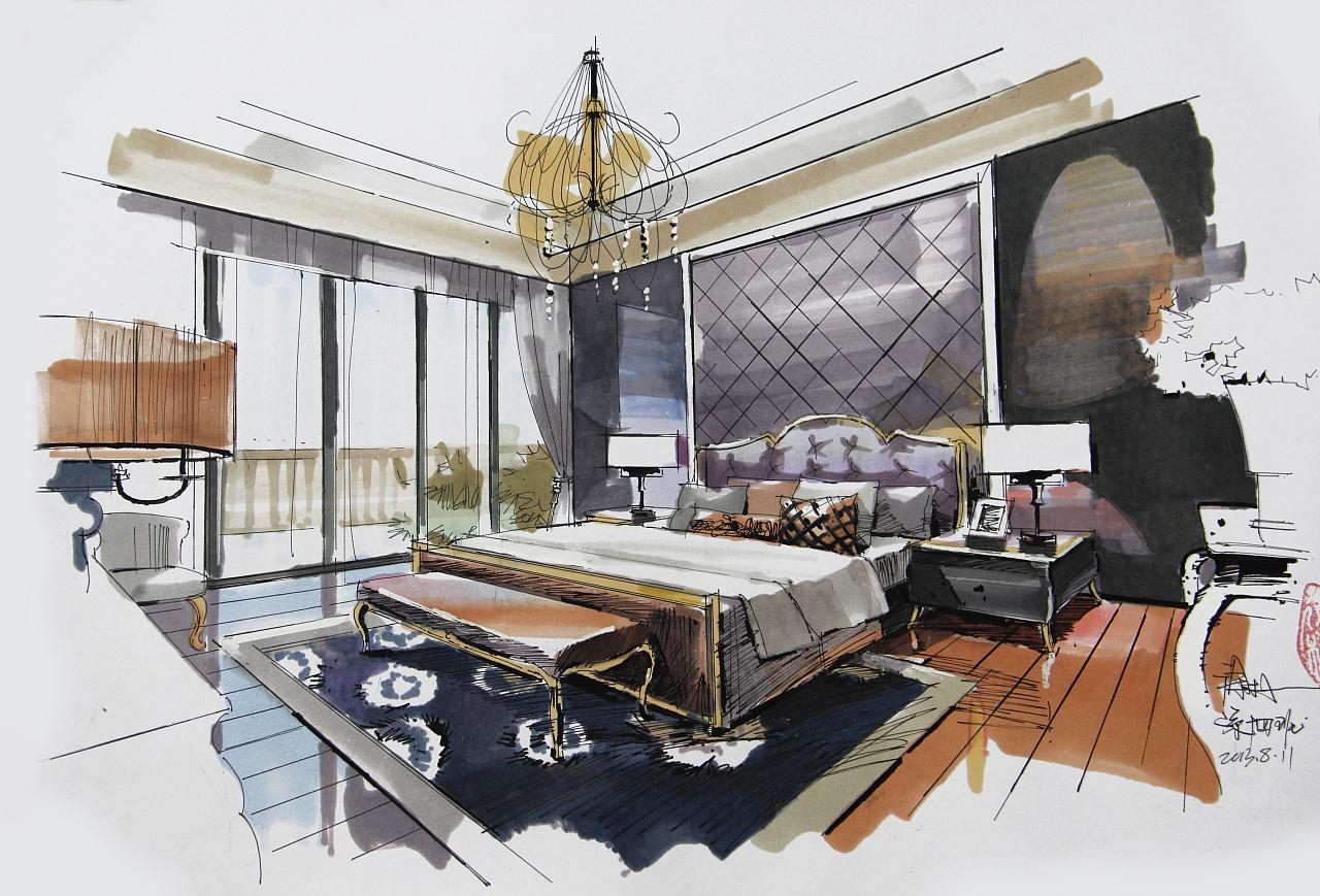 早两年的空间手绘马克笔表现作品|空间|室内设计|木卜