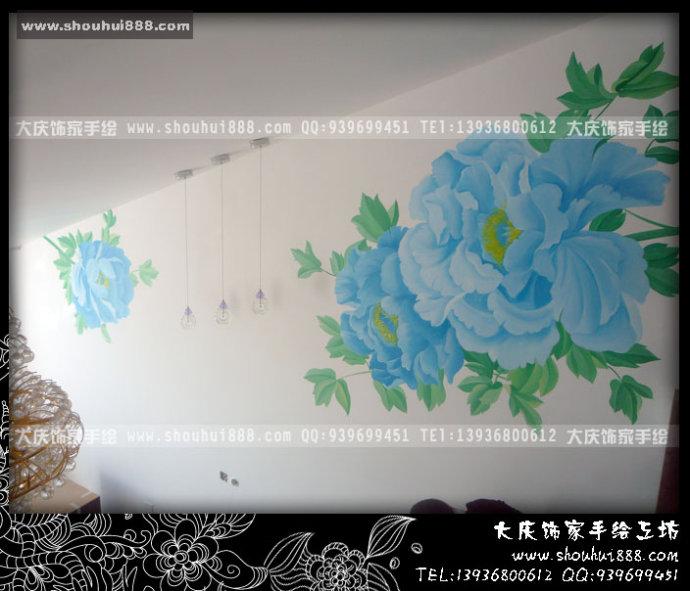 手绘蓝色牡丹电视墙by大庆饰家手绘原创作品
