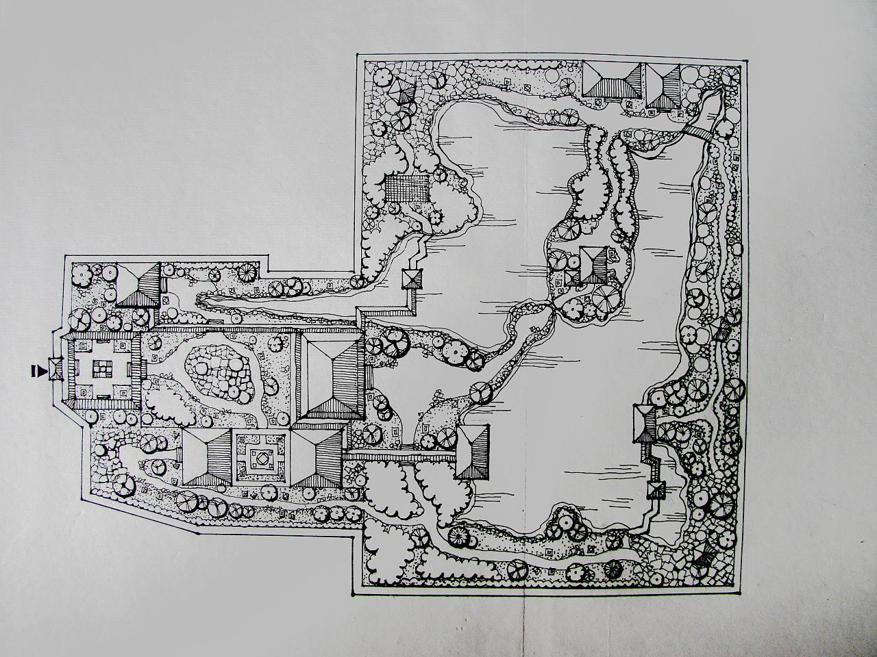 中国古典园林平面图和立面图设计线稿.