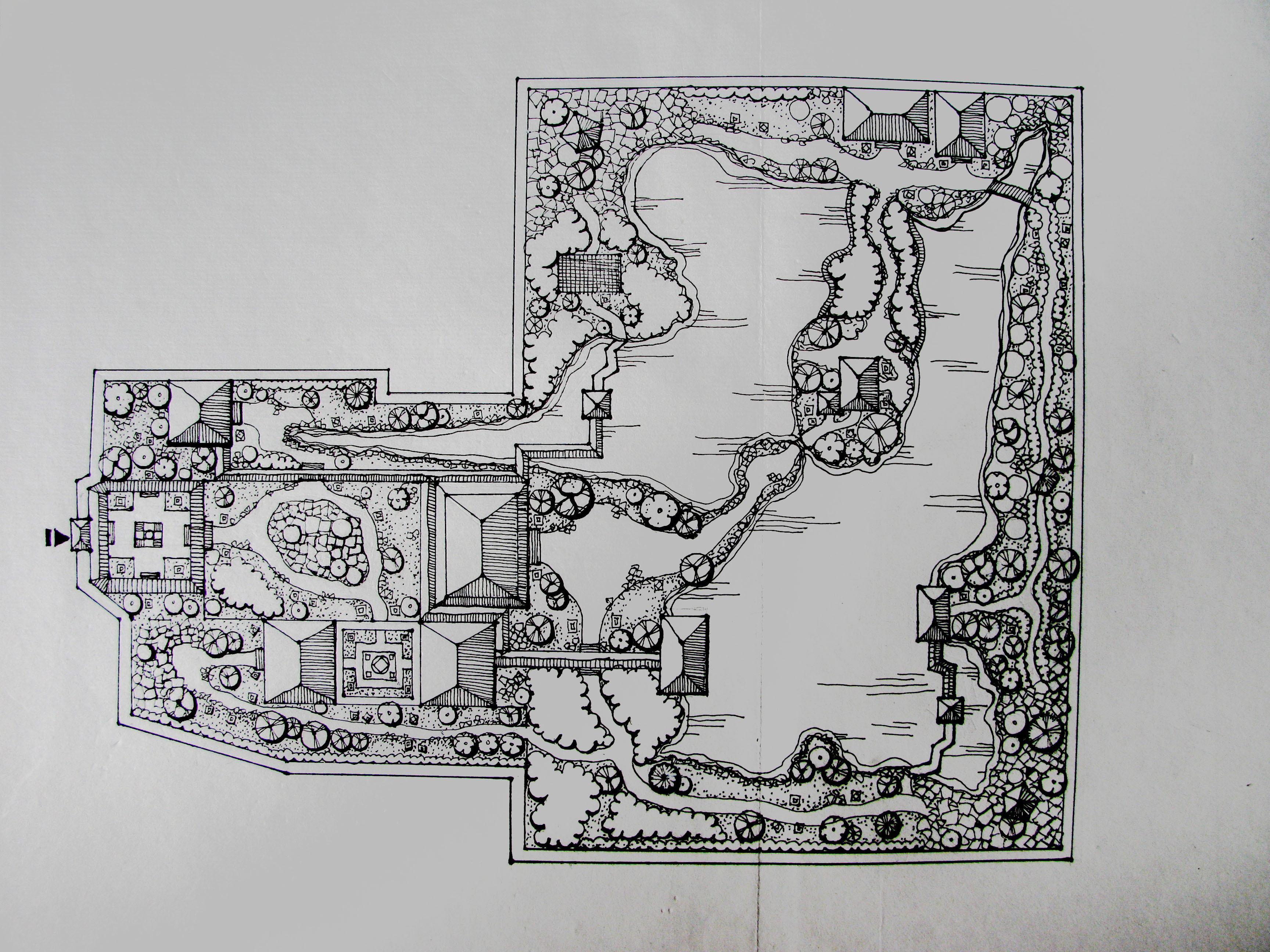 中国园林简笔画设计图-中国园林简笔画