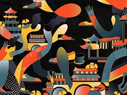 成都远洋太古里V&A博物馆鞋履展览插画墙