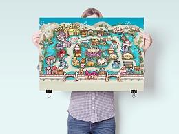 卡通手绘地图