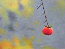 我的油画作品《秋意柿子红》