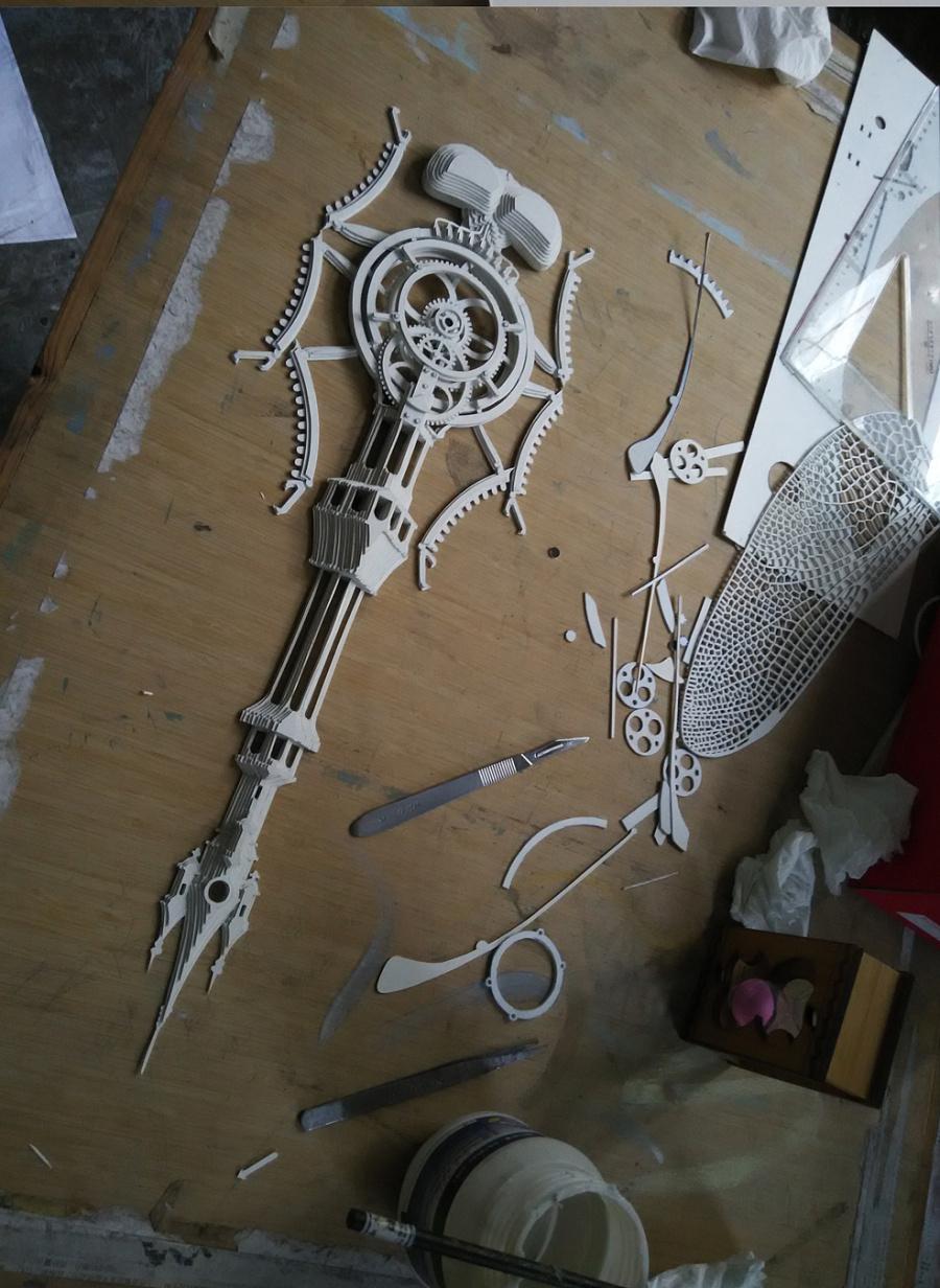 叠纸纸雕蜻蜓制作历程|其他手工|手工艺|纸出心裁