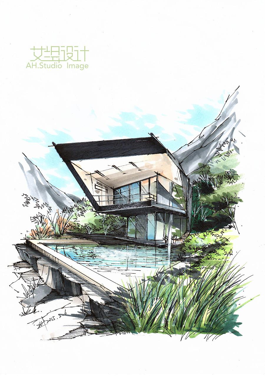 艾绘v步骤-小步骤马克笔教程别墅分享|建筑设计东明山东别墅图片
