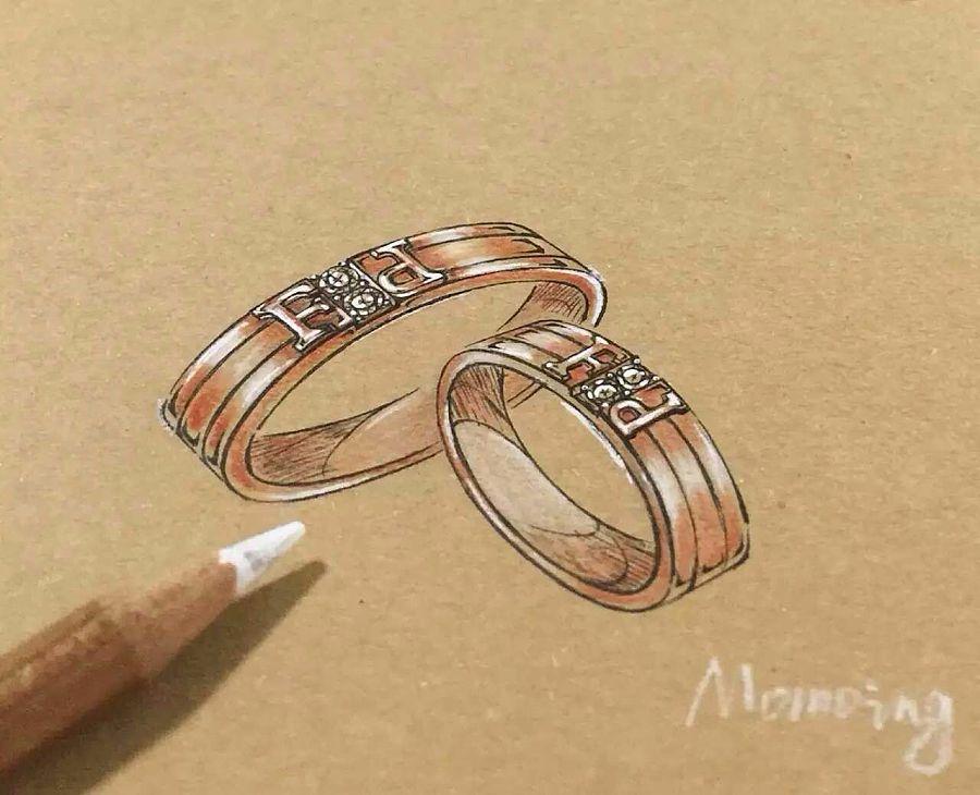 结婚对戒设计手绘图