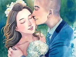 手绘水彩婚照步骤图