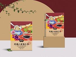 玫瑰八宝杏仁茶手绘包装盒