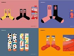 甲方跑路的一组袜子图案设计