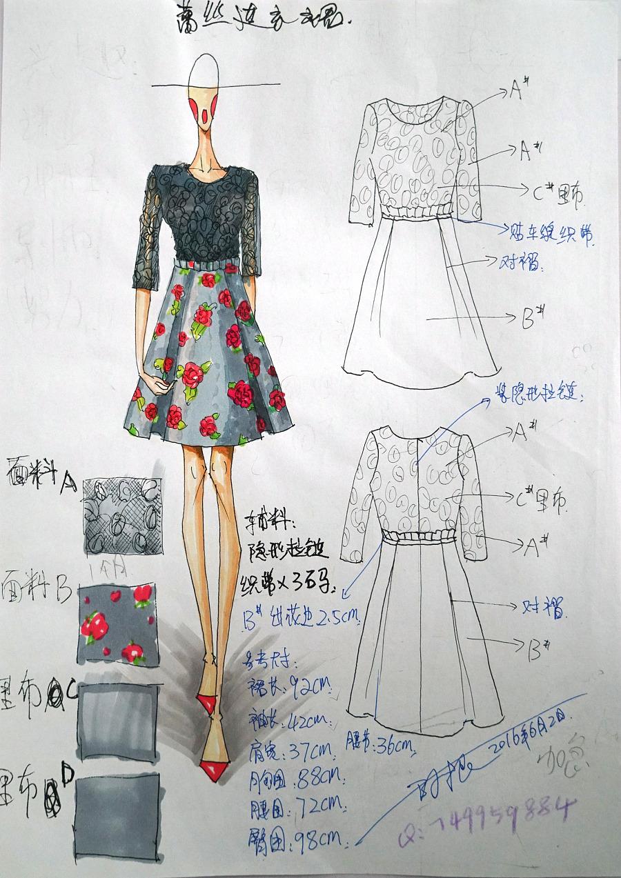 服装设计连衣裙女装效果图
