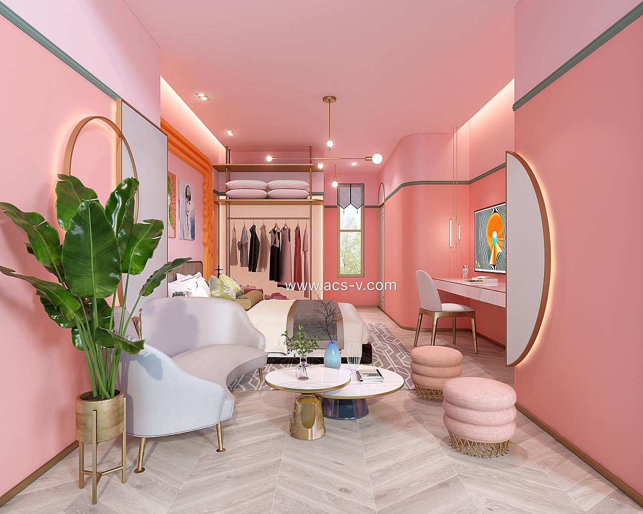 黄铜质感_情迷墨西哥PINK-SANDRO网红民宿酒店样板间麦哲伦设计 空间 室内 ...