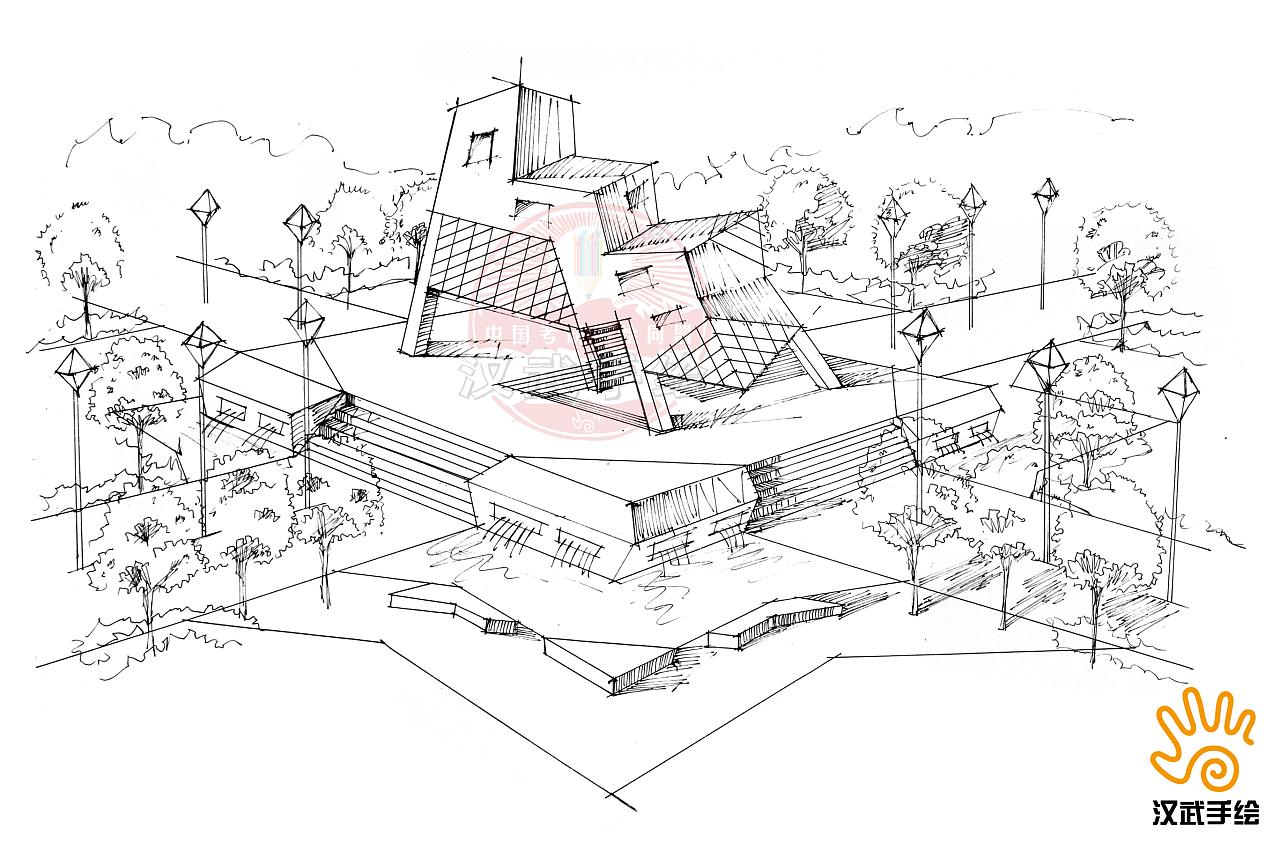 广场设计手绘线稿